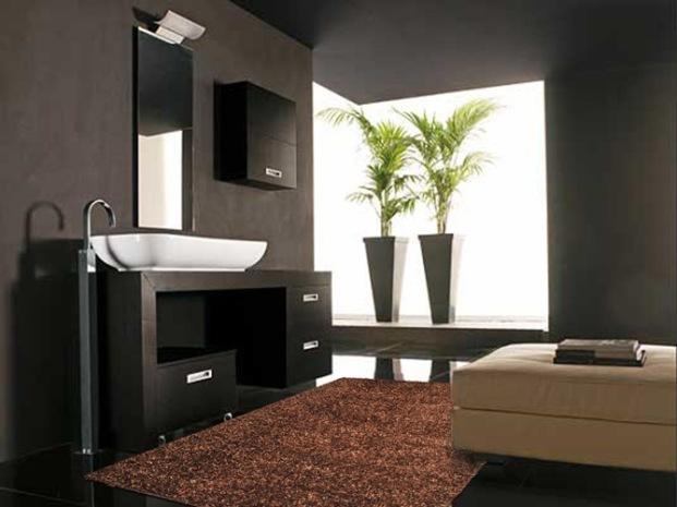 w401 tappeto moderno per bagno shaggy marrone cm 75x155 | ebay - Bagni Moderni Beige E Marrone