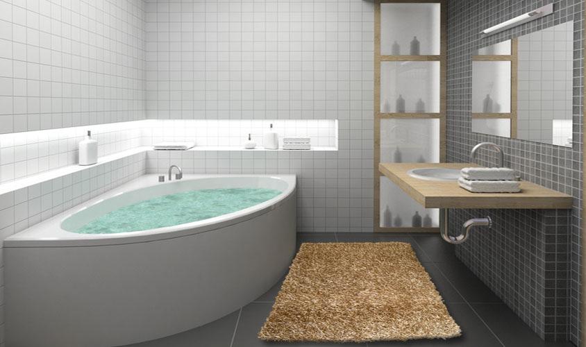 Tappeto shaggy beige ideale per il bagno webtappeti