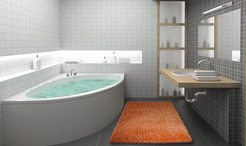 Tappeto a spaghetti arancione ideale per il bagno floorita srl