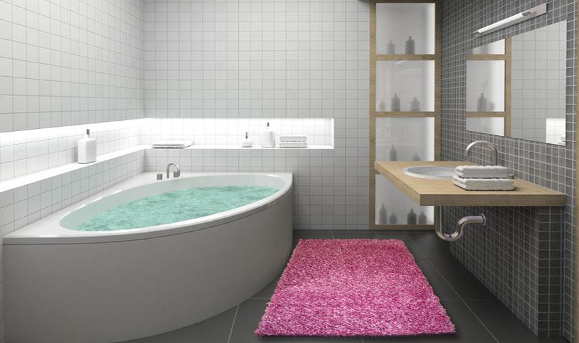 Tappeto a spaghetti lilla ideale per il bagno floorita srl - Tappeti bagno particolari ...