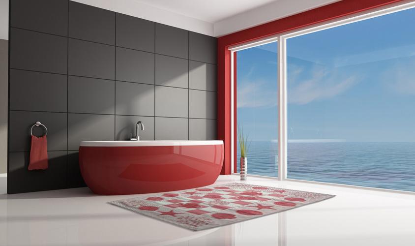 Tappeto ideale per il bagno marino rosso - Tappeto bagno rosso ...