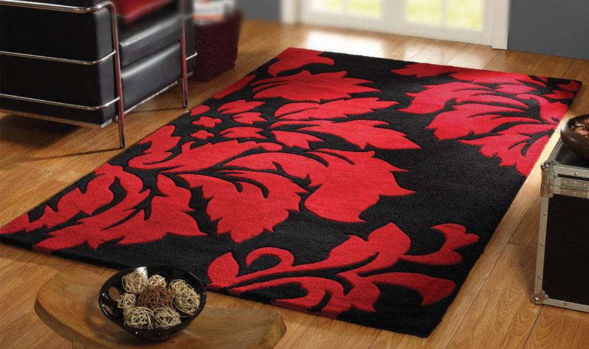 Tappeto in lana nero con disegno floreale rosso - Tappeto bianco e nero ...