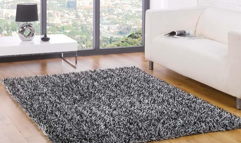 Tappeto a pelo lungo nero argento spider black silver - Como limpiar una alfombra de pelo largo ...