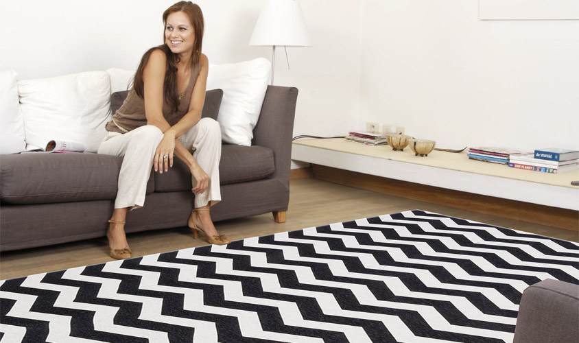 Tappeto moderno disegno optical, bianco e nero - CITY LOFT OPTICAL ...
