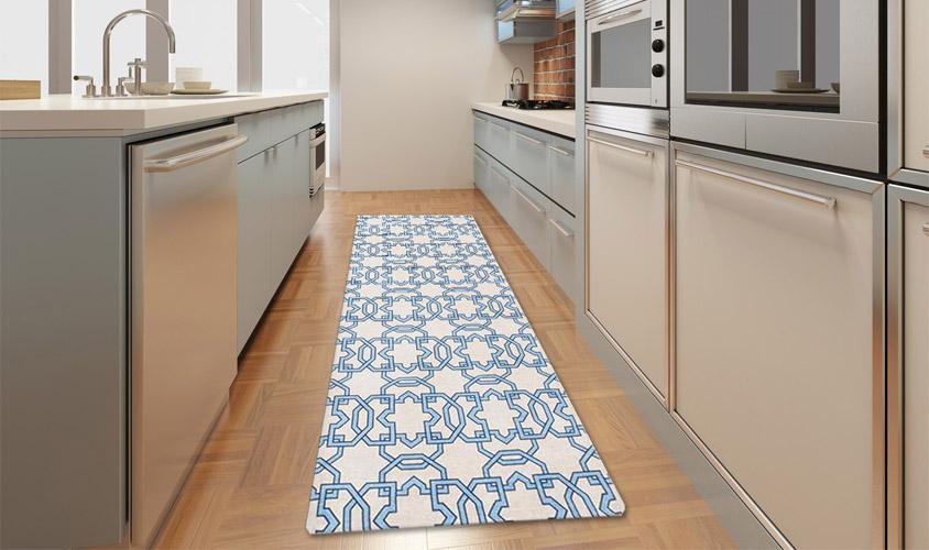 passatoie cucina disegno geometrici : Stuoia cucina disegno geometrico avorio blu - Collezione LOFT HOME ...