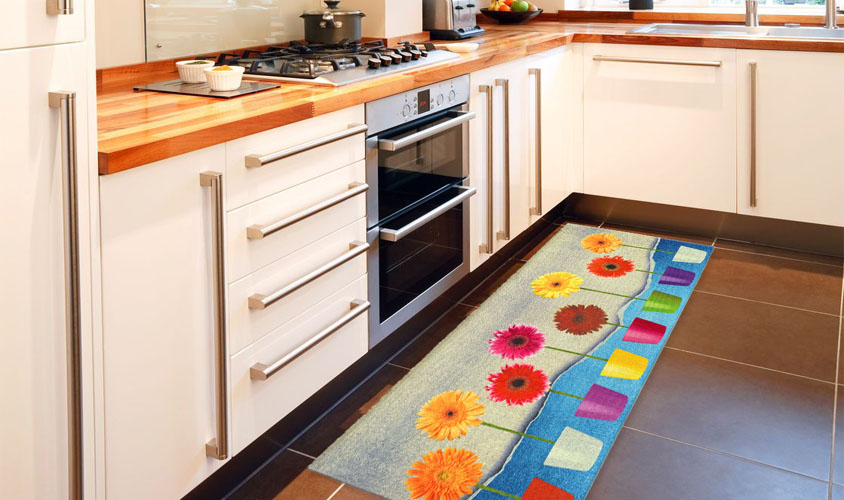 Stuoia cucina con vasi di fiori, KITCH FLOWER POWER - Floorita SRL